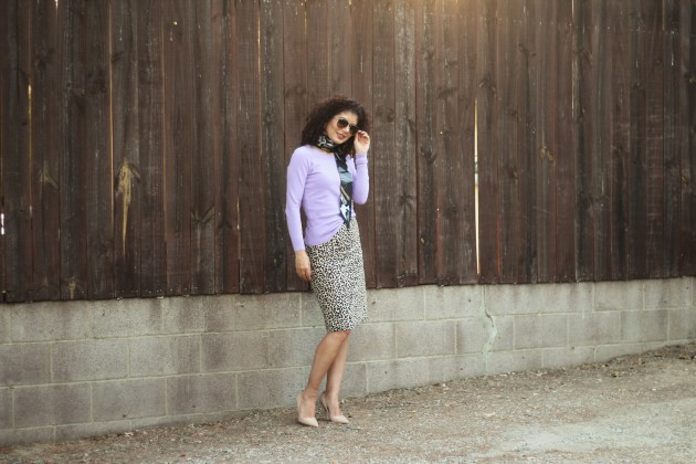 j crew lavender sweater and leopard skirt with Halogen® Floral Print Silk Skinny Scarf neutral black combo