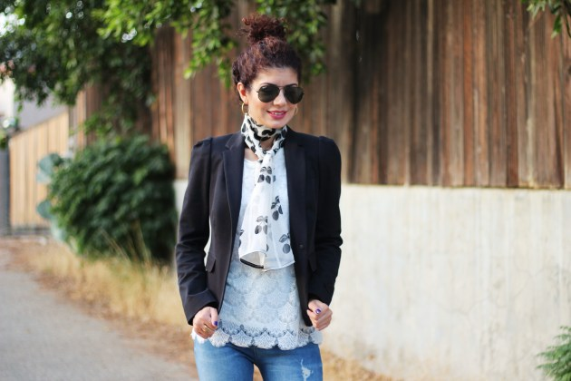 blazer and jeans with lace top and cherry print printed scarf