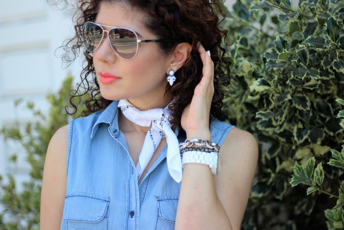everyday style blogger polished whimsy wearing white earrings and watch with Target Who What Wear sleeveless chambray shirt for a spring transition outfit
