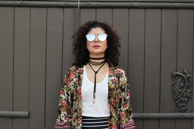 Fall kimono with Target Women's Floral Kimono Jacket Purple/Green - Merona™ and J Crew mixed strip pencil skirt with baublebar lariat choker and ilymix double crossbar metal pantos aviator sunglasses