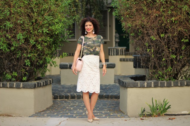 camo t shirt with lace scalloped edge ivory skirt J Crew and baublebar earrings