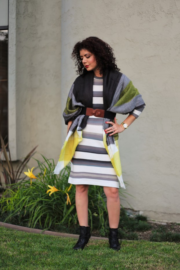 Ilymix yellow plaid blanket scarf poncho with anthropologie grey striped dress and banana republic booties