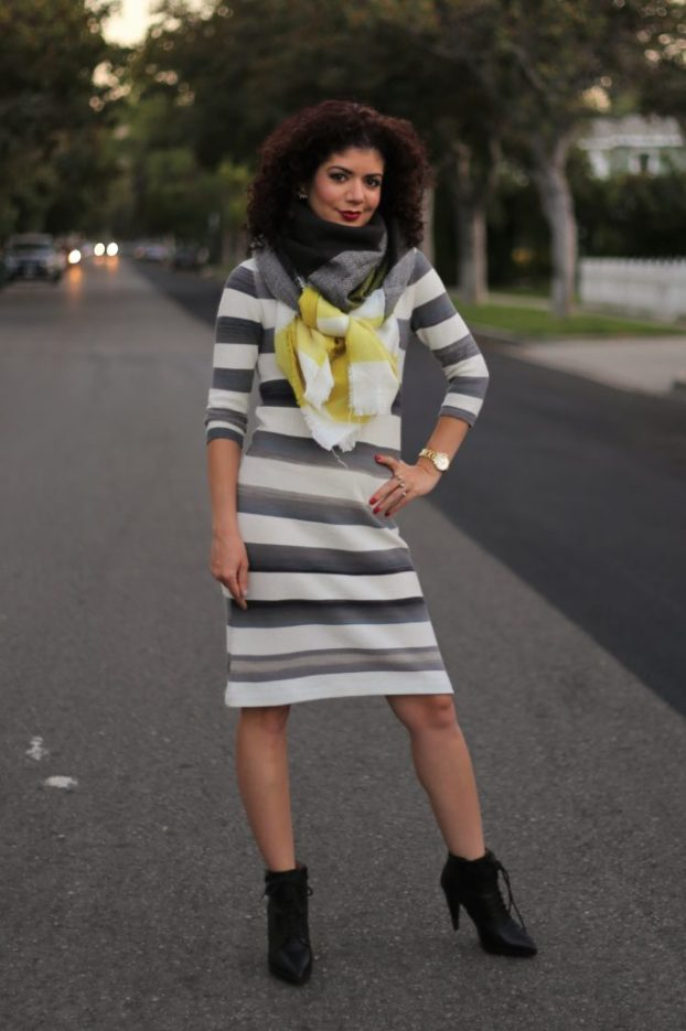 Ilymix blanket scarf with striped anthropologie dress and banana republic booties