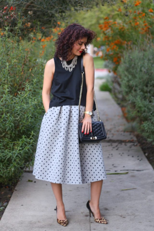 accessories make the outfit with top shop neoprene polka dot midi skirt with leopard print heels