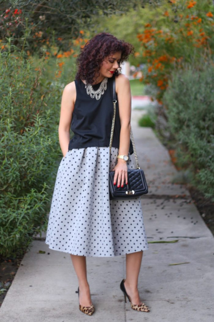 New york style evening out look with polka dots and leopard print
