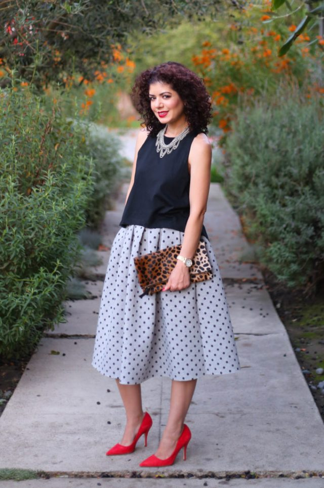 accessories make the outfit with polka dot topshop midi skirt with club monaco open back tank, leopard clutch and kate spade red heels