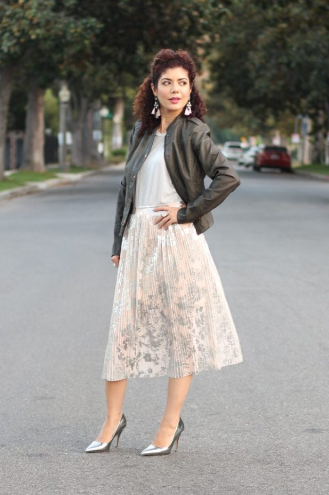 Anthropologie leather jacket with pleated pink skirt as seen on Polished Whimsy blog