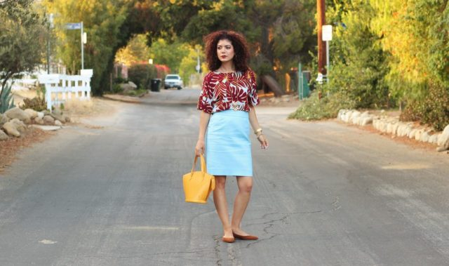 Fall transition outfit with H&M blue leaf print shirt and j crew pencil skirt with mustard louis vuitton bag and camel Sam Edelman flats