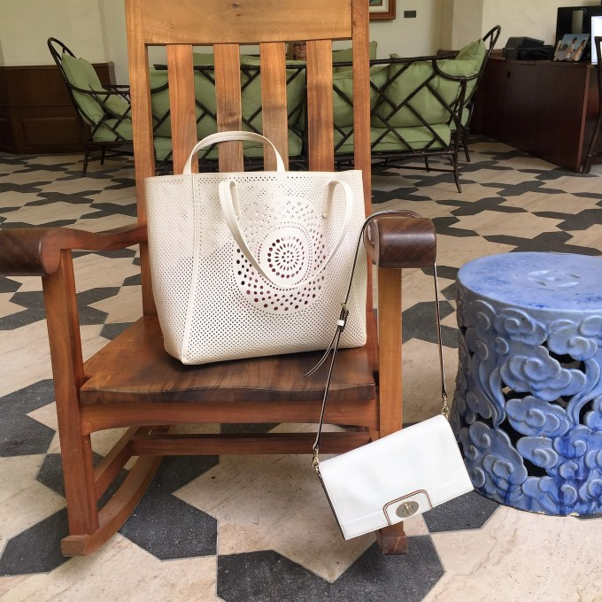 purses for warm weather vacation: Target perforated beach bag, Kate Spade crossbody bag