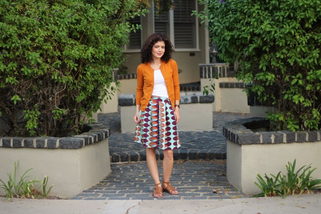 Fall transition outfit with J Crew jackie mustard cardigan and anthropologie skirt