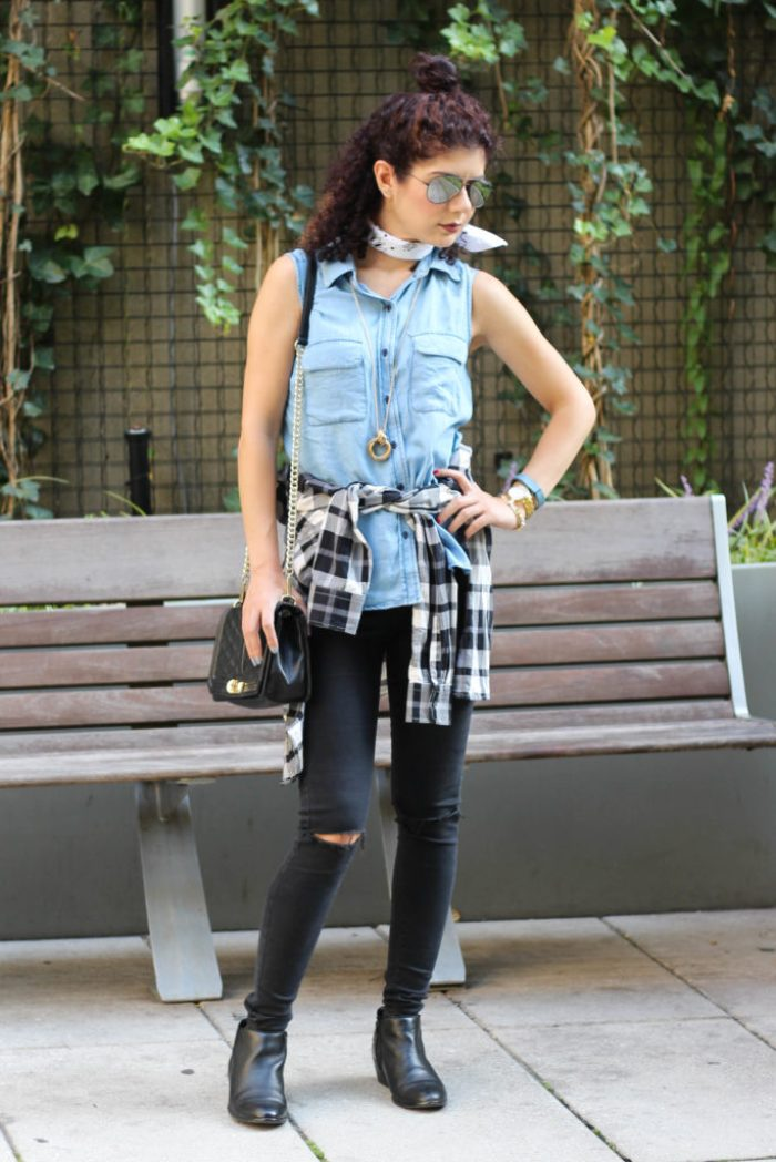 90s fashion trends with flannel shirt and bandana