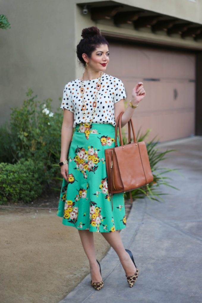 Triple Pattern Mix with Anthropologie Tracy Reese green floral skirt, polka dot top and leopard print pumps