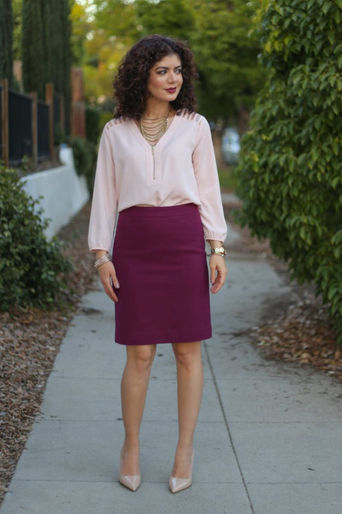 burgundy and blush fall outfit