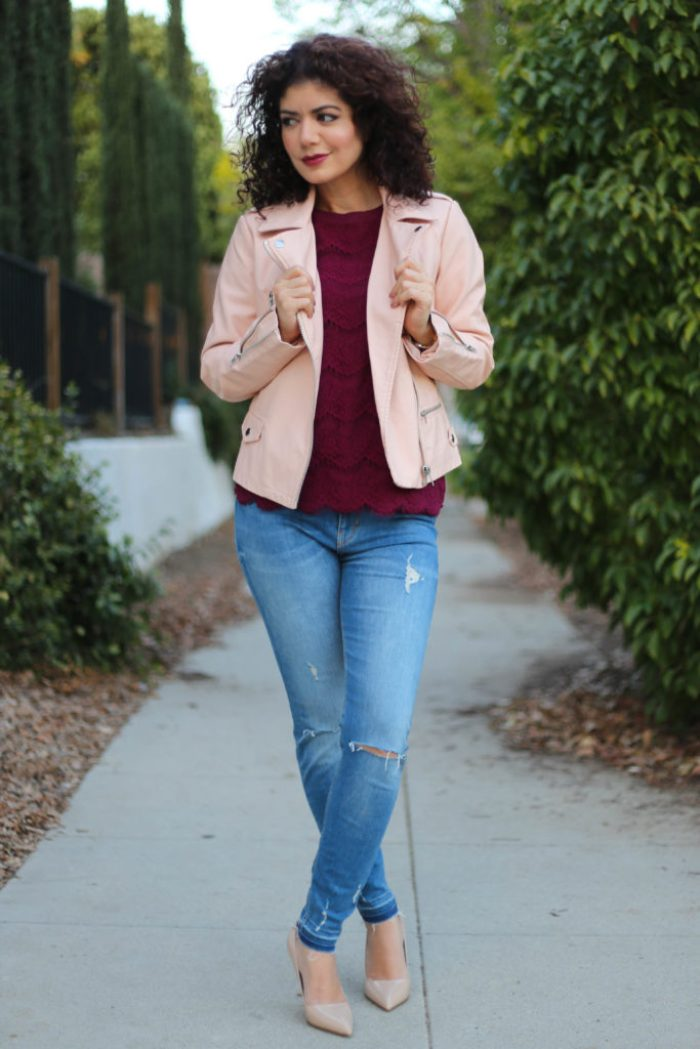 burgundy and blush in a leather and lace outfit