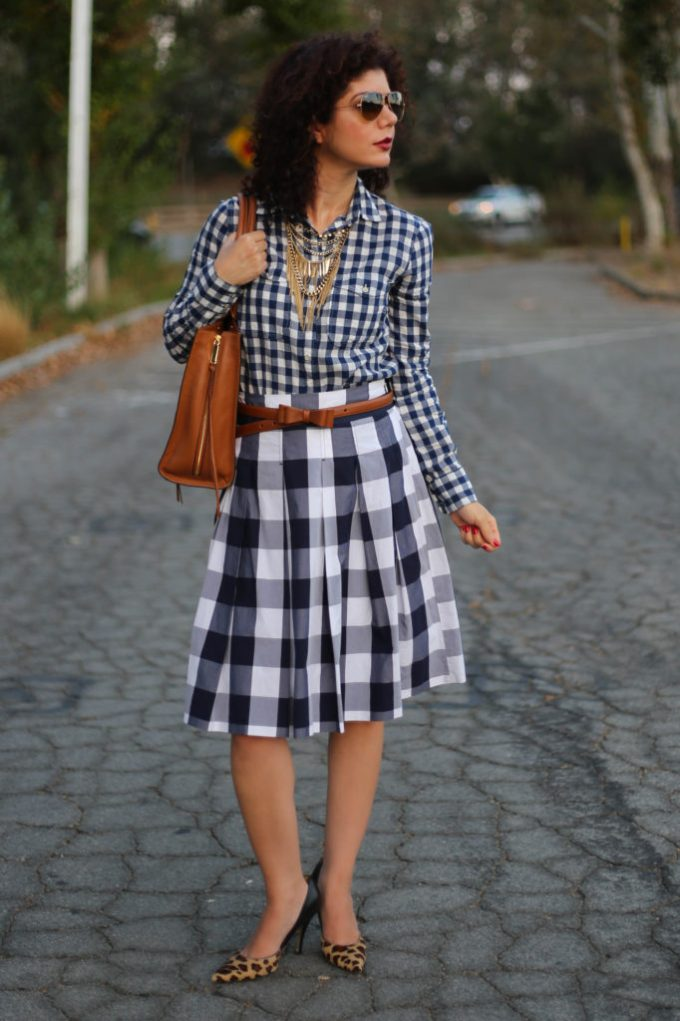 Everyday style blogger polished whimsy wears a triple pattern mix outfit with gingham plaid and leopard print