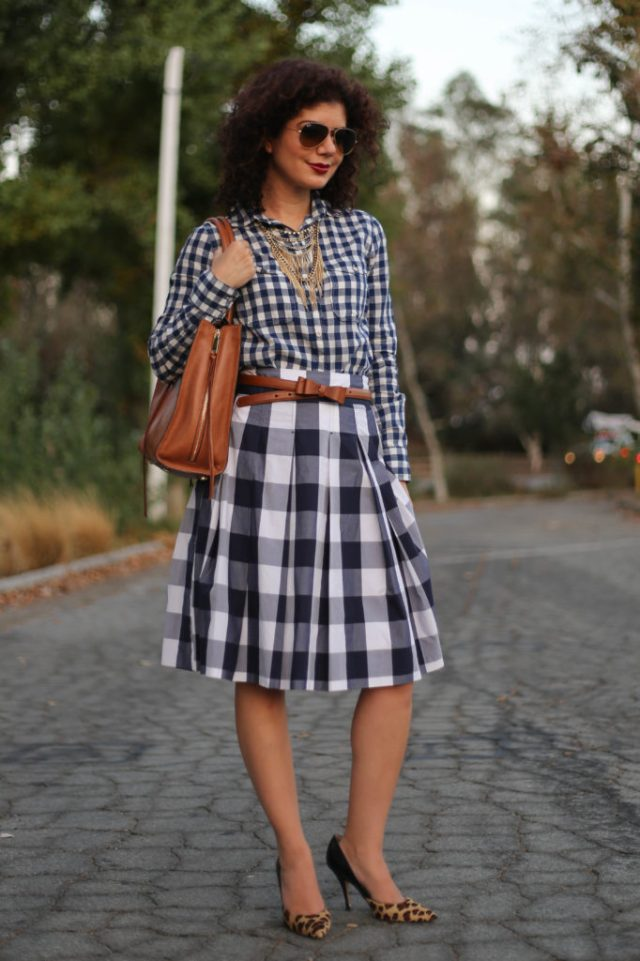 gingham on gingham outfit