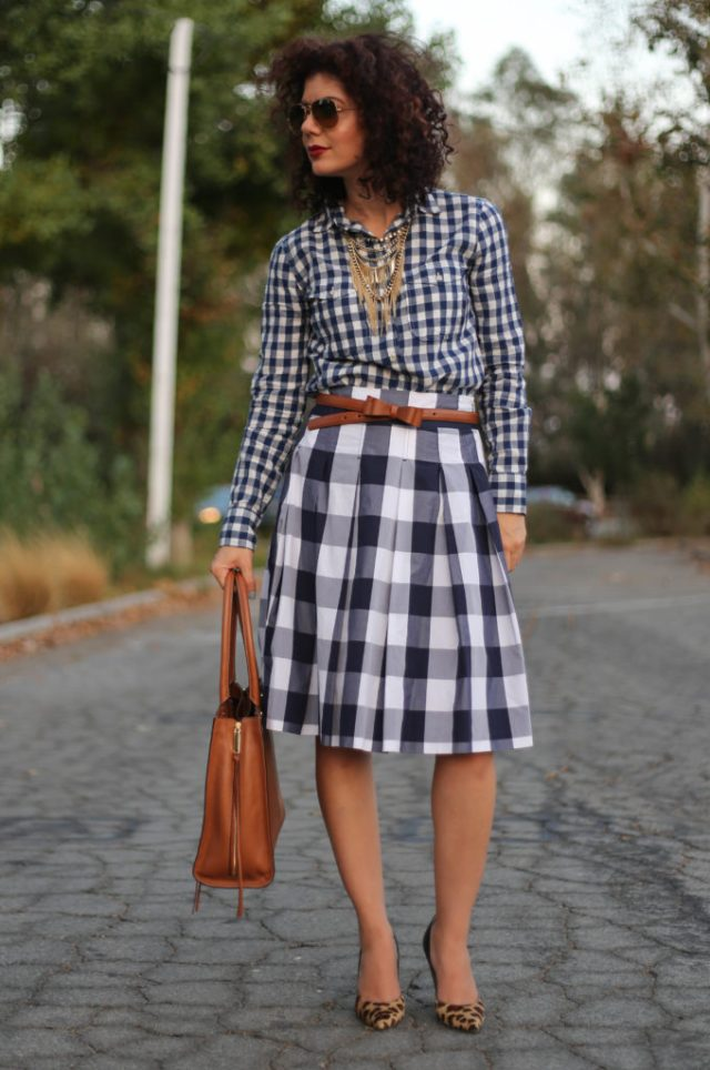 blue gingham on gingham with leopard