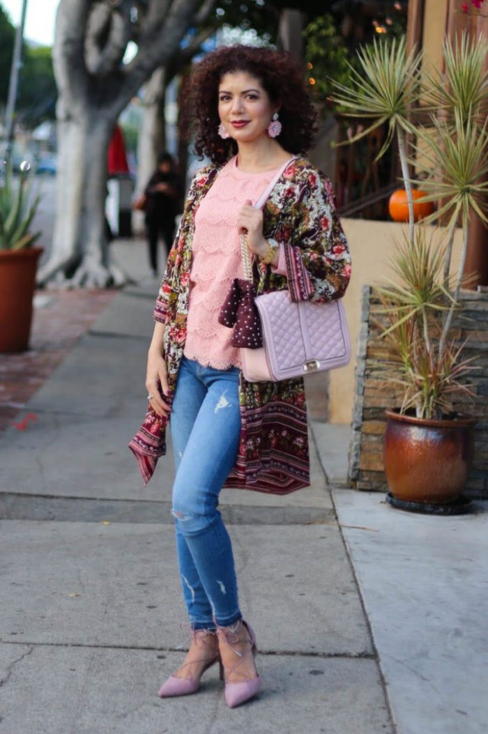 burgundy and blush with a fall florals kimono