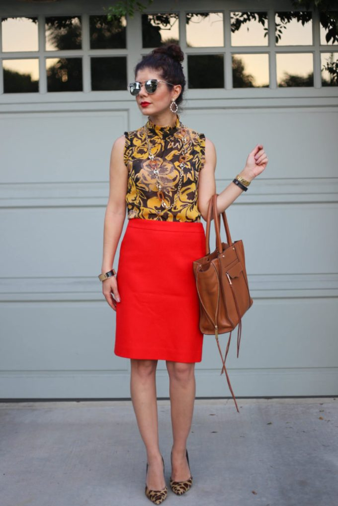 mustard yellow and red outfit