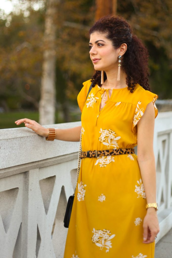 Loft mustard yellow dress with leopard print belt