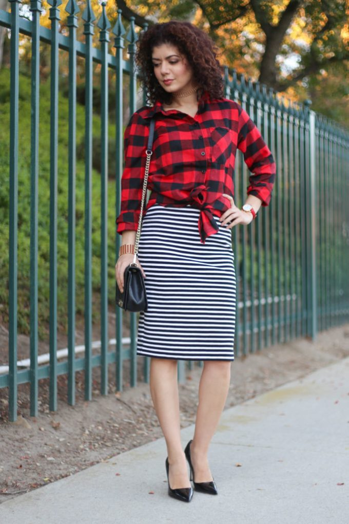 pattern mixing with buffalo check and stripes