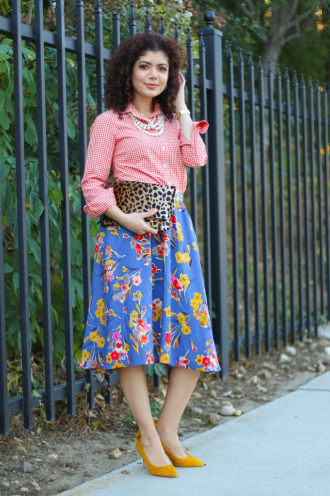 fall florals and leopard print with anthropologie skirt