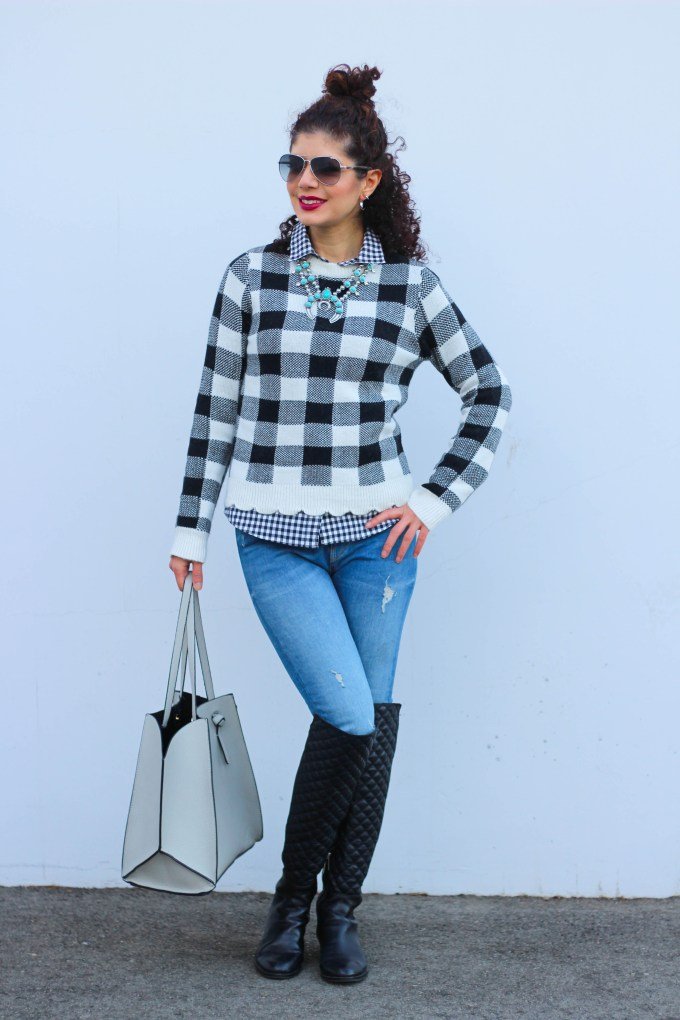 Polished Whimsy blogger in buffalo check sweater and gingham pattern mix