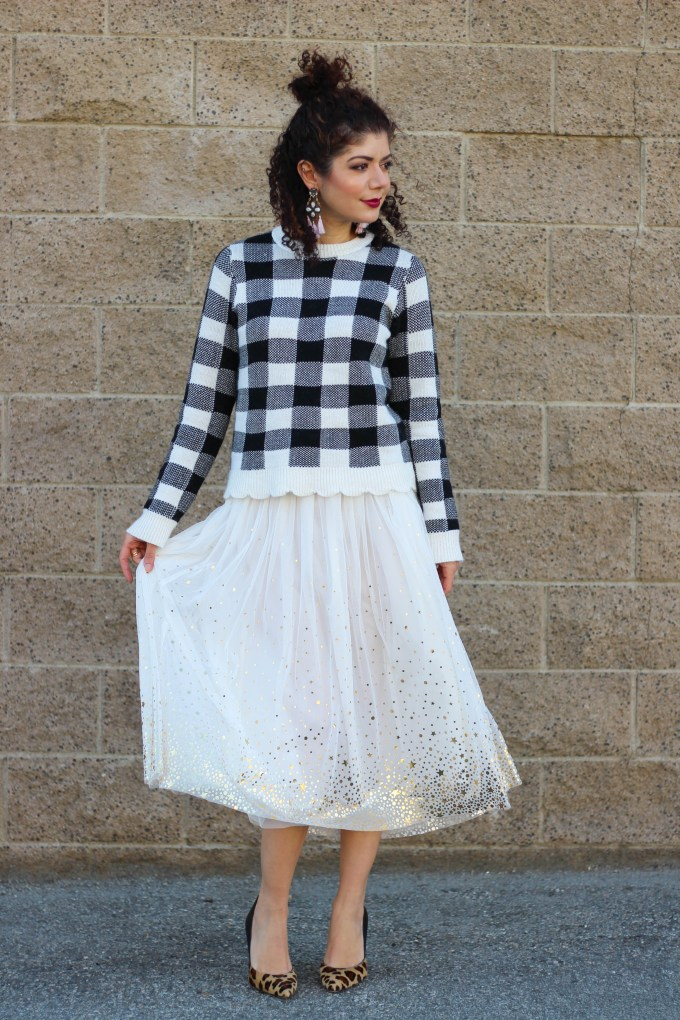 Blogger polished whimsy in gray monroe buffalo check sweater and tulle skirt
