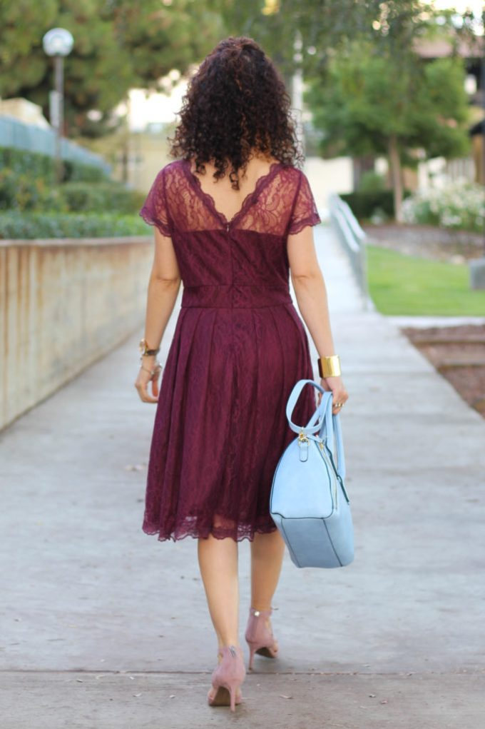 burgundy lace midi dress for thanksgiving outfit