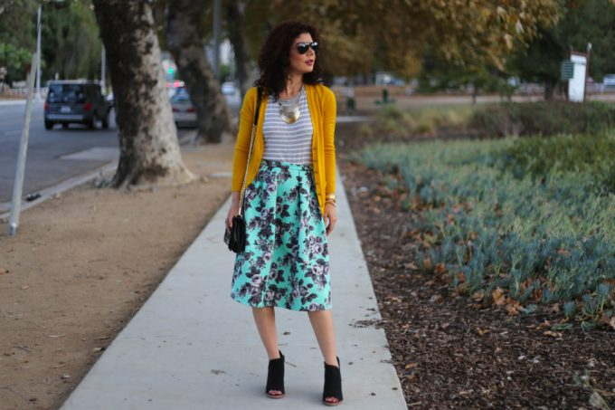 Mustard and mint pattern mixing outfit