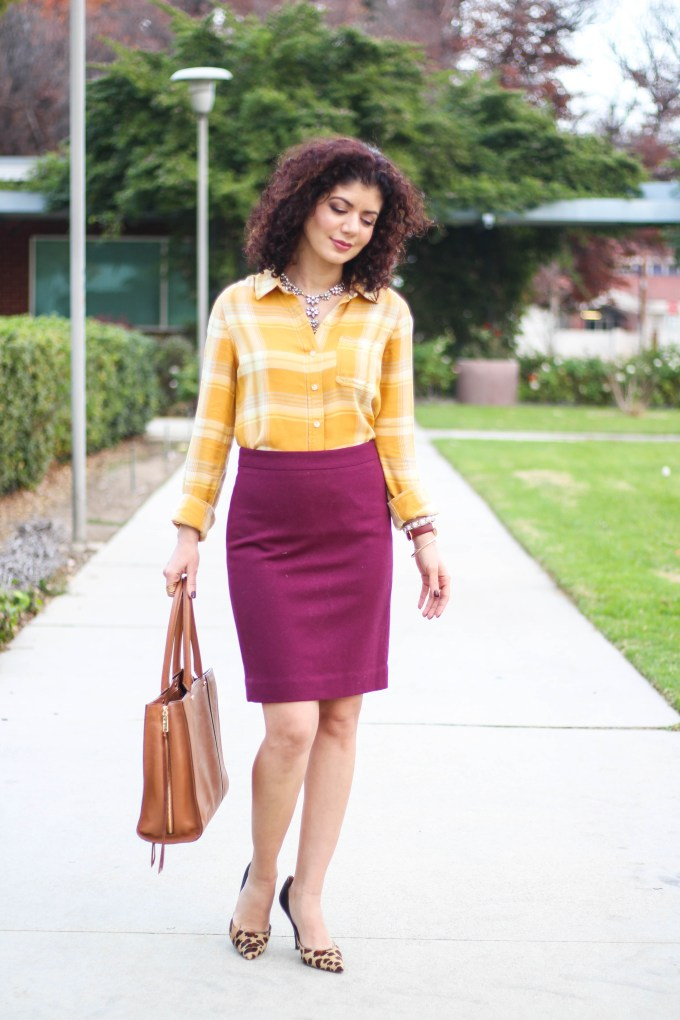Polished whimsy in mustard and burgundy