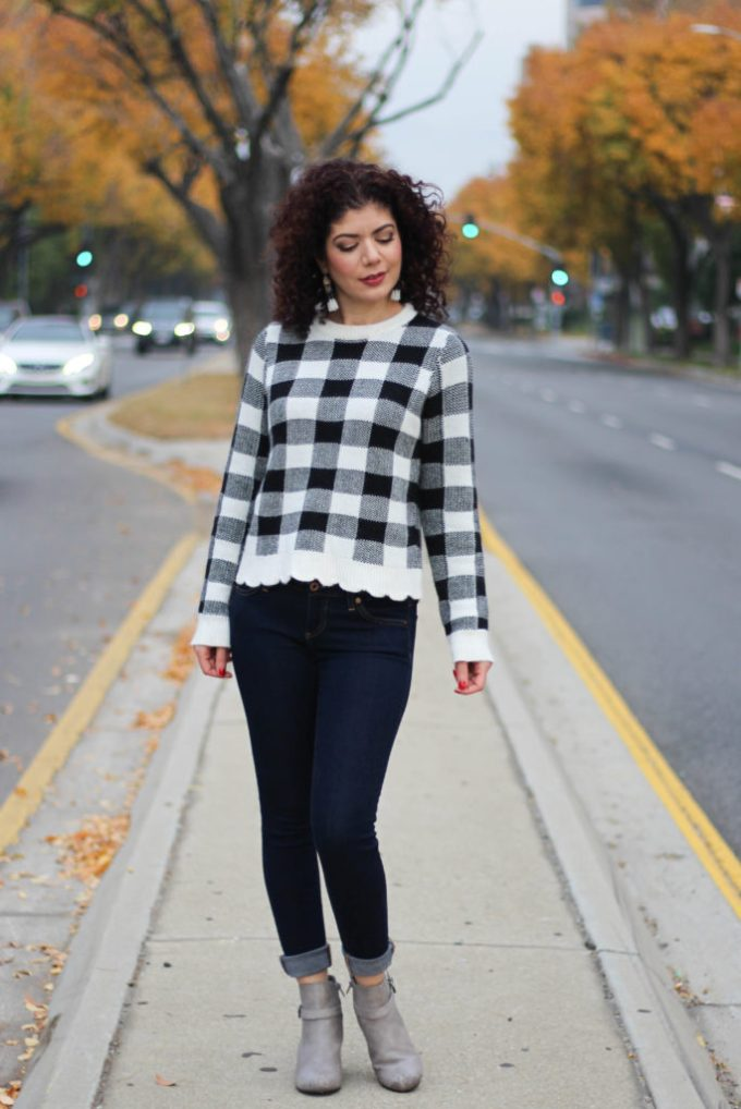 Polished whimsy in buffalo plaid sweater and wedge booties