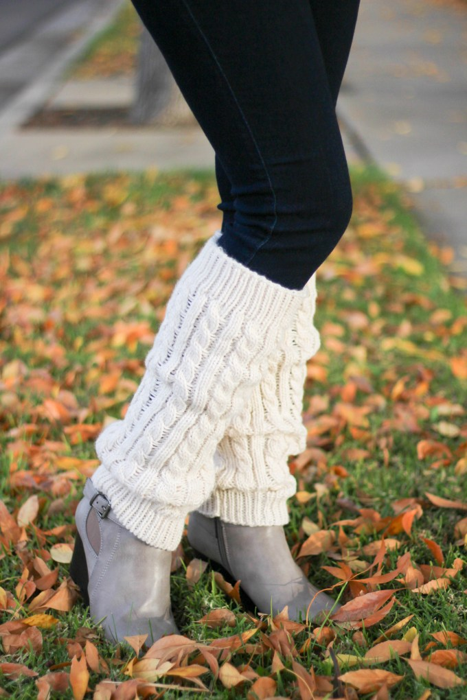 polished whimsy in wedge booties and leg warmers