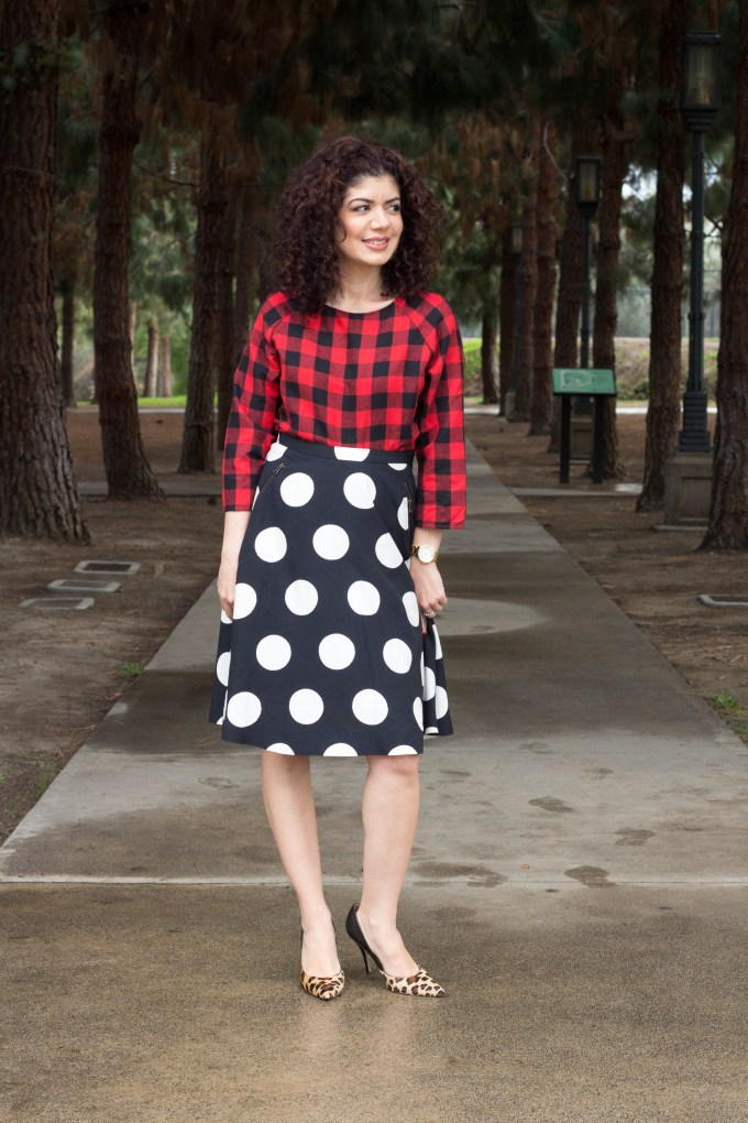 Polished whimsy in triple pattern mix outfit with buffalo check, leopard print and polka dots