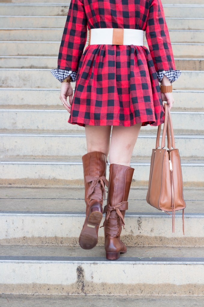 Polished whimsy in gingham and buffalo check dress