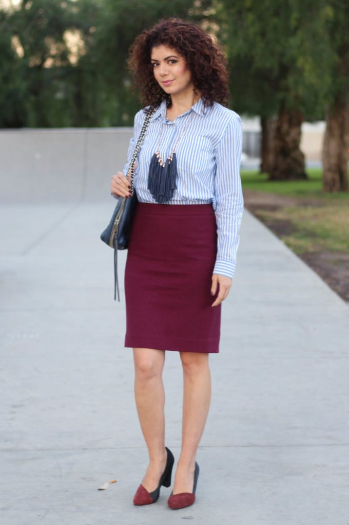 Polished whimsy wearing baby blue and burgundy for work