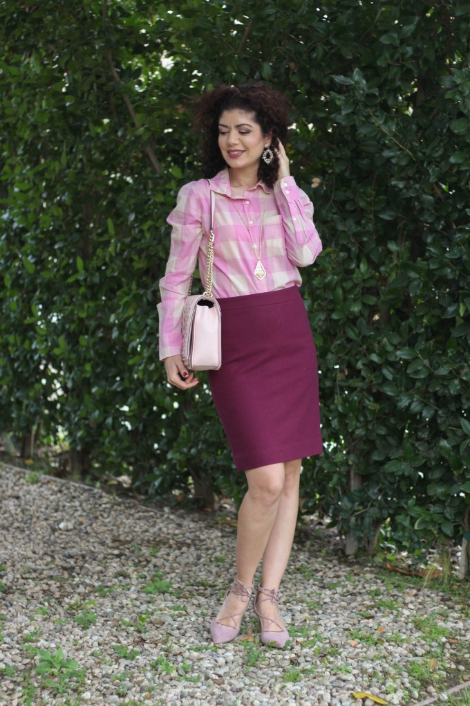Polished whimsy in burgundy and pink j crew work outfit