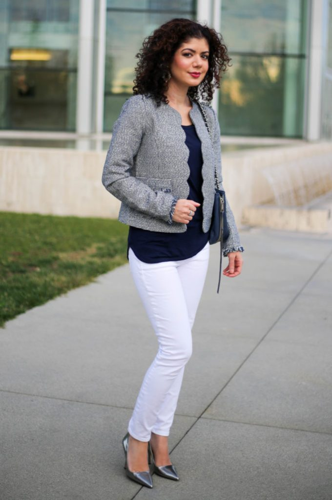 Polished whimsy in white jeans for winter at the office