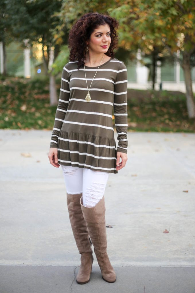 Polished whimsy in white jeans and over the knee boots