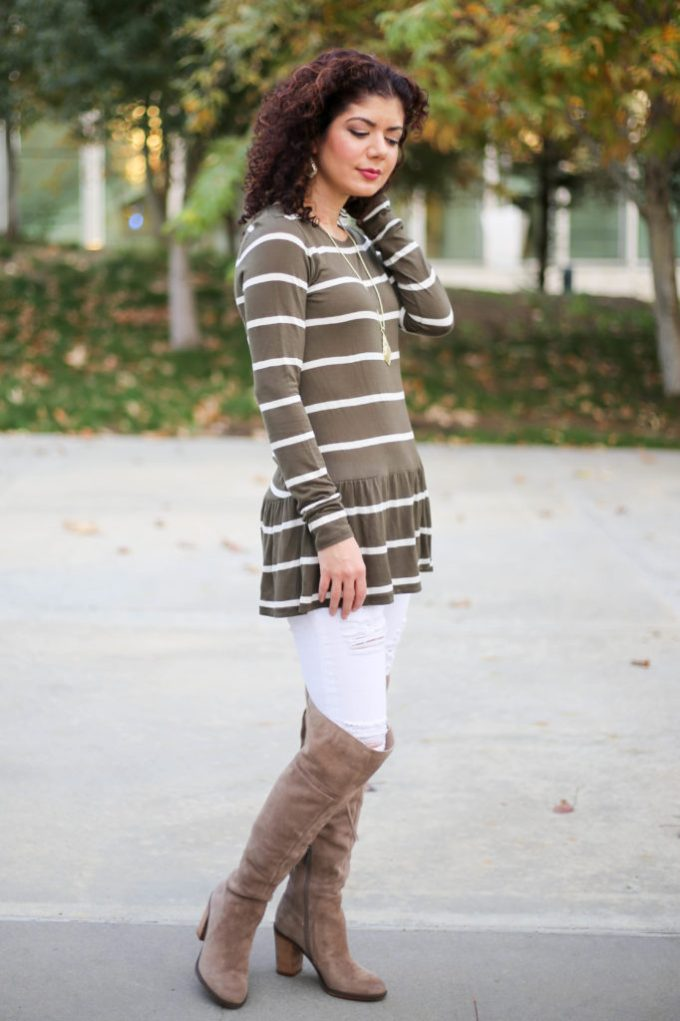 Polished whimsy in white jeans and peplum top