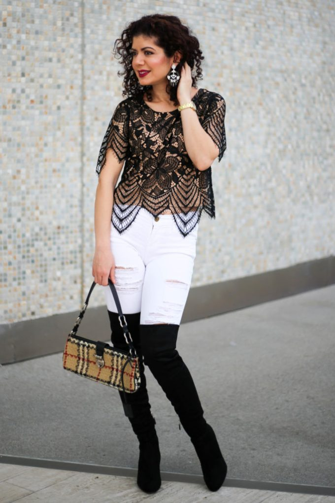 Polished whimsy in white jeans in winter going out outfit
