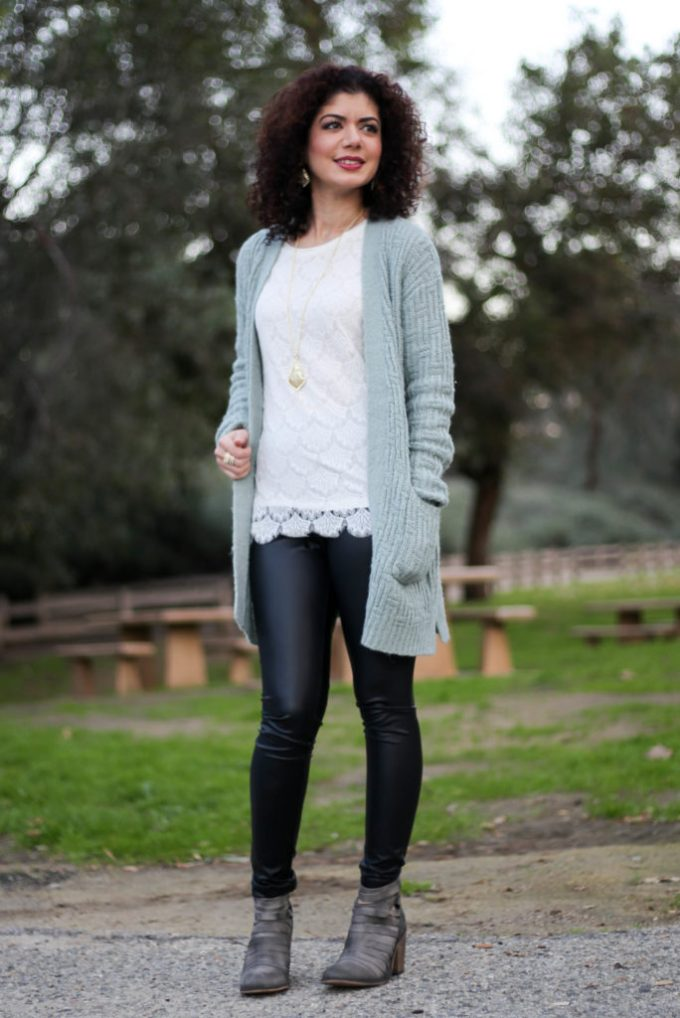 Polished whimsy in leather leggings casual outfit