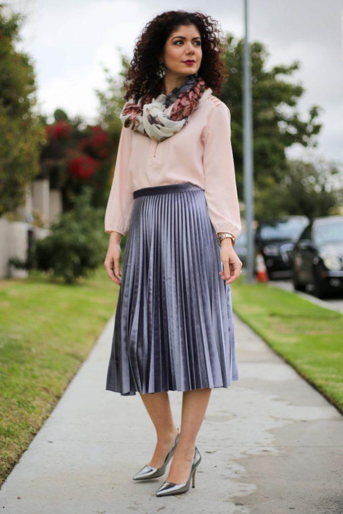 polished whimsy in pleated gray velvet skirt