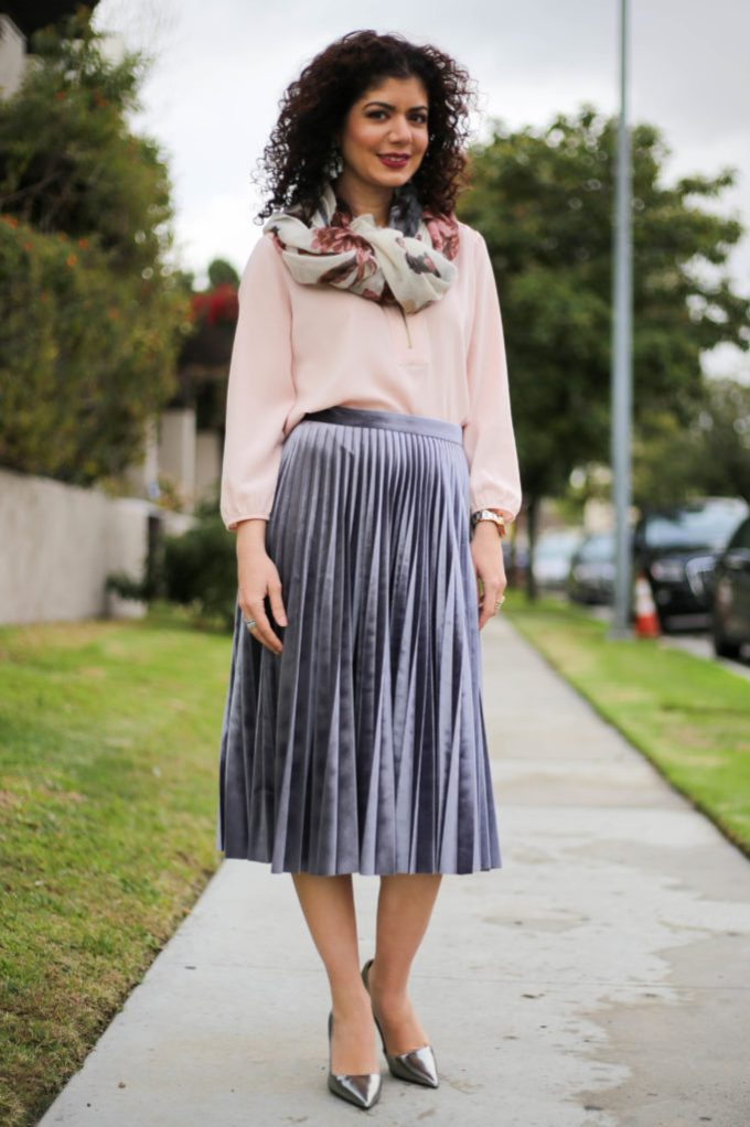 Polished whimsy in pleated gray velvet skirt