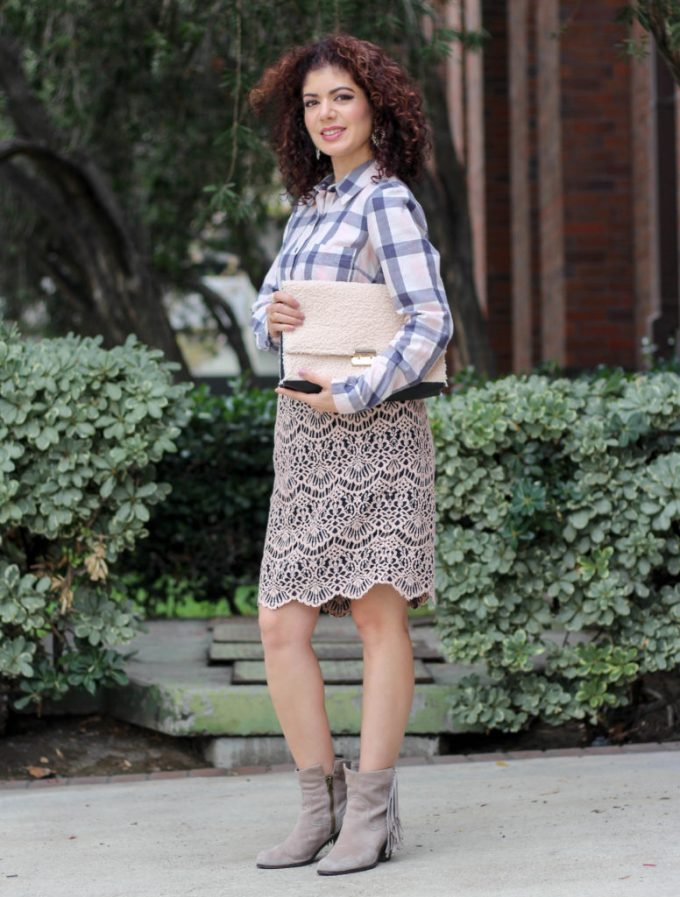 polished whimsy in plaid and lace outfit