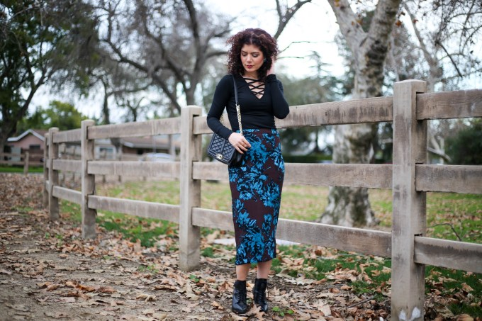 Polished whimsy in winter florals skirt and criss cross top