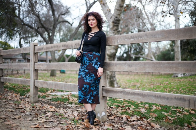 Polished whimsy in winter florals skirt