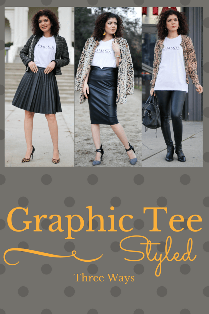 Fashion blogger polished whimsy styles a graphic tee three ways with elements of leather and leopard print