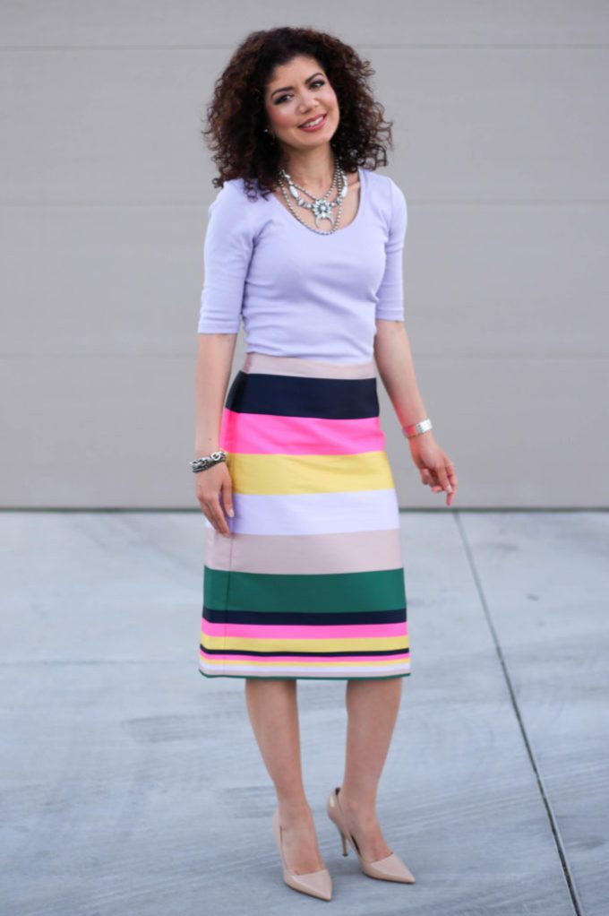 3638b8a8ade ... Colorful striped skirt for work  paired with a tee and heels the J Crew  pop