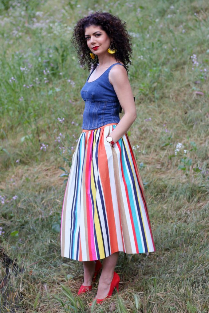 5 Ways To Wear A Colorful Striped Skirt